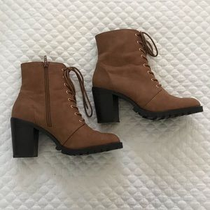 Camel faux leather lace up boots